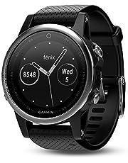 Garmin Fenix 5 - Reloj multideporte, con GPS y medidor de frecuencia cardiaca, lente de cristal y bisel de acero inoxidable