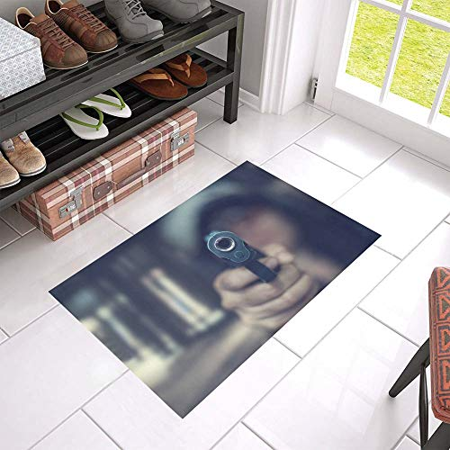 HUAPIN Pistol Bullets and Pistols Welcome Cleaner Doormat for Home and Business Indoors and Outdoors Dirt Trapper Door Mat Non-Slip Entrance Rug Carpet 23.6