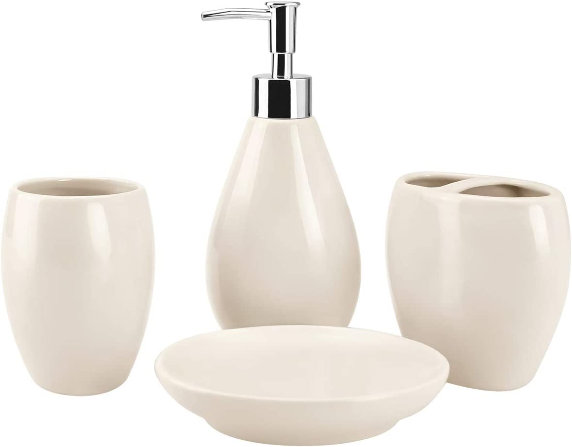 4-Piece Ceramic Bathroom Accessory Set, Bathroom Accessories Set Includes Soap Dispenser, Toothbrush Holder, Tumbler, Soap Dish, Complete Bathroom Ensemble Sets for Bath Decor, Ideas Home Gift (Beige)