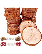 """Unfinished Natural Wood Slices 30 Pcs 2.4""""-2.8"""" Inch Craft Wood kit Predrilled with Hole Wooden Circles Great for Arts and Crafts Christmas Ornaments DIY Crafts Rustic Wedding Ornaments"""