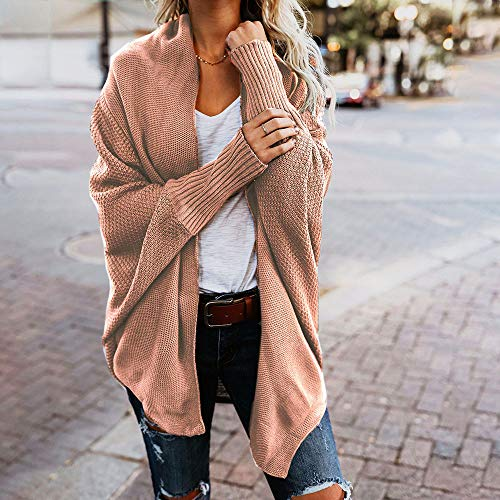 Hiver Vêtement Ouvert Solide Mode Manteau Longues Chic Rose Automne Front Femme Manches Tricot Cardigan qHwEC7