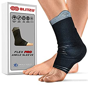 Blitzu #1 Ankle Brace Medical Grade Plantar Fasciitis Compression Sock, Best Foot Sleeve with Arch Support, Injury Recovery, Joint Pain Eases Swelling, Heel Spurs, Achilles tendon, Sprains, Strains M