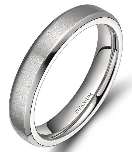 4MM/6MM/8MM Unisex Titanium Wedding Band Rings in Comfort Fit Matte Finish for Men Women