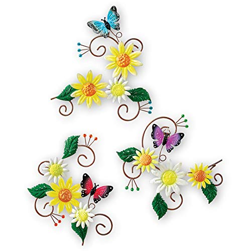 Collections Etc Daisy and Butterfly Scrolling Metal Wall Art Trio - Seasonal Decorative Accent for Any Room in Home ()