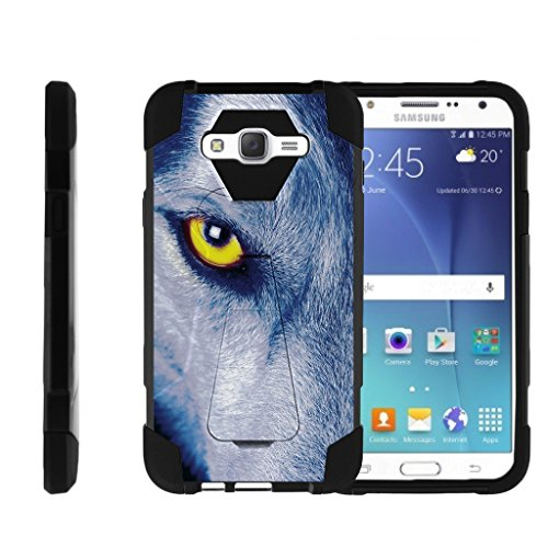 outlet TurtleArmor | Samsung Galaxy J7 Case | J700 [Dynamic Shell] Hybrid Cover Impact Absorber Shock Silicone Combo Hard Kickstand Wild Animal Design - Wolf Eye