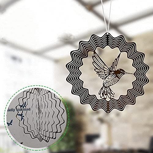3D Stainless Steel Flowing-Light Effect Decor House Hanging Decoration, Wind Chimes Outdoor Windchimes Unique Outdoor Gifts for Mom, Garden Party Outdoor and Indoor Decorations (B-6X6 Inch)