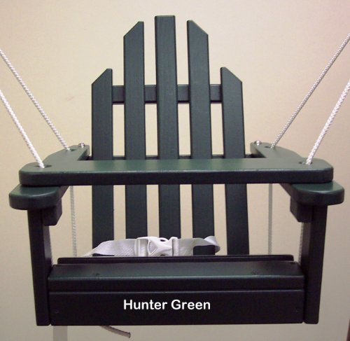 Hunter Green Children's Adirondack Swing - Rope & Seat Belt Included - Weather Resistant Aspen Wood -16 Inches square x 20 inches High - Made in USA –HUNTER GREEN by Kids Outdoor Porch Swing