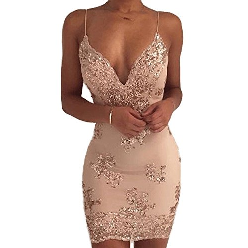 Women's Sexy Backless Sparkling Dress Sequins Floral Deep V Neck Clubwear Party Bodycon Mini Short Dress Golden TAG M