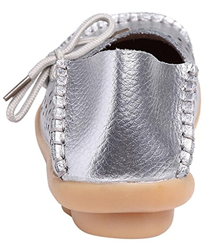 Fangsto Donna Mocassini Pantofole In Pelle Floreale Scarpe Basse Slip-on In Argento Sty-2