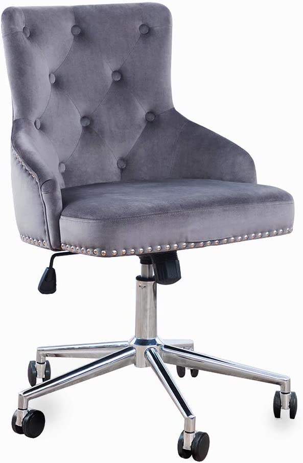 DMF Furniture Home Office Chair with High Back, Modern Design Velvet Desk Task Chair with Arms in Study Bedroom (Grey)