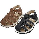 Wholesale Boy's Velcro Sandals | Colors: Black & Brown (Assorted) | Sizes: 4-9 | 24 Pairs