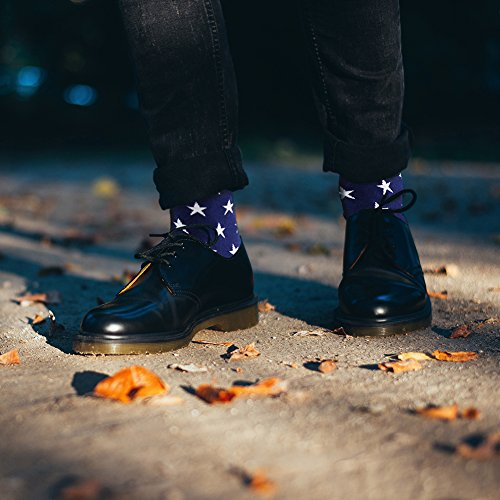 Business Gift Socks, LANDUNCIAGA Men Crew Classic Patriotic American Flag Socks Stars Stripe Design Funny Novelty Cotton Crew Bridegroom Groomsmen Socks Mid Calf,6 Pairs by LANDUNCIAGA (Image #2)