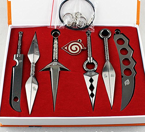 Inexpensive Naruto Metal Weapons Swords Model Eight Sets Black and Pendant