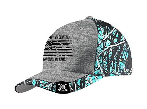 Muddy Girl Camo Women's Serenity Respect My Country Hat, Turquoise, One Size by Moon Shine Camo
