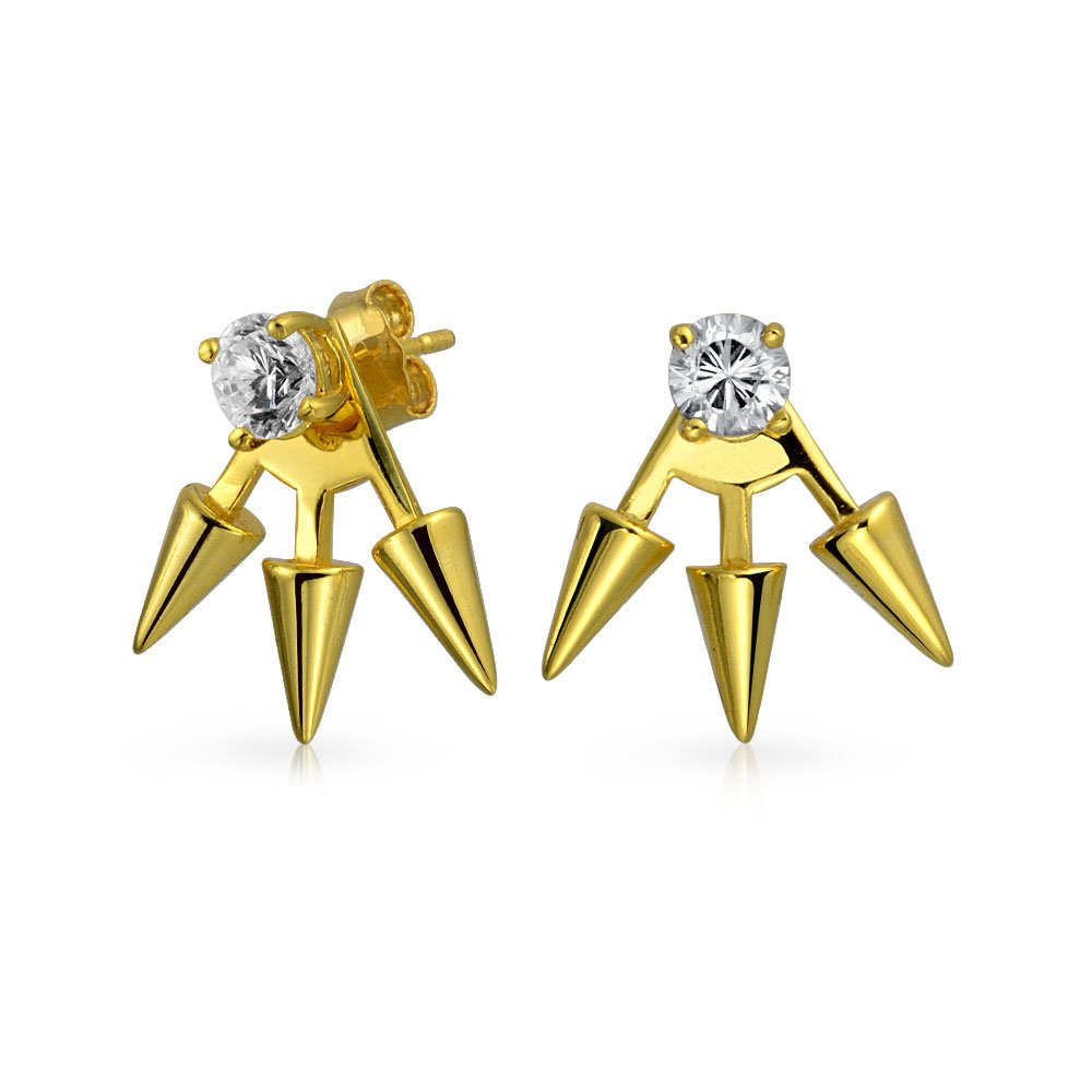 Gold Plated Sterling Silver Spiked Modern CZ Earring Jackets
