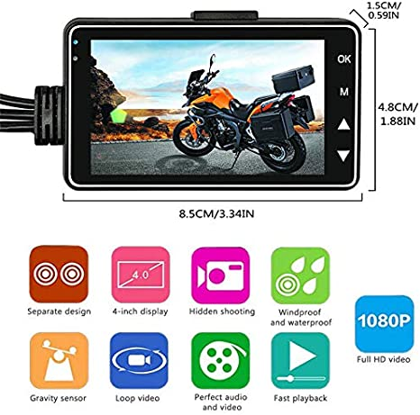 Maso Motorcycle Dash Cam Front and Rear Motorbike Camera Waterproof Dual Video HD 1080p with IP68