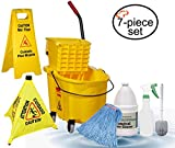 TigerChef 0026-MOPSET Mop and Bucket Housekeeping Supplies Set, Includes Mop Bucket/Wringer Combo, Mop Head, Wet Floor Caution Sign, Safety Cone, Spray Bottle, Multi-Purpose Brush, 24'' Thickness