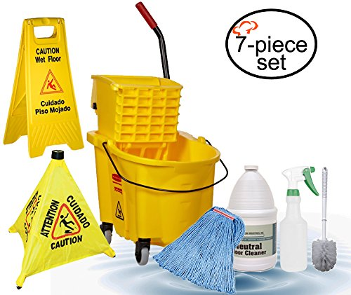 - TigerChef 0026-MOPSET Mop and Bucket Housekeeping Supplies Set, Includes Mop Bucket/Wringer Combo, Mop Head, Wet Floor Caution Sign, Safety Cone, Spray Bottle, Multi-Purpose Brush, 24