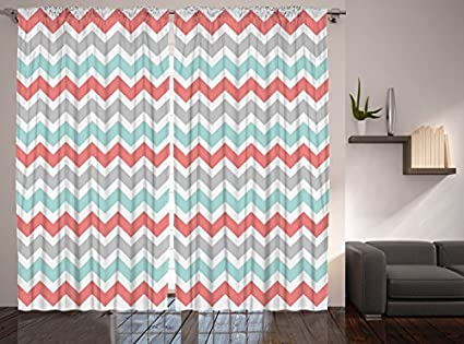 Better Curtains Chevron Striped 2 Panel Set Coral White Turquoise Gray
