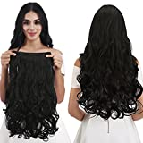 "REECHO® 20"" 1-Pack 3/4 Full Head Curly Wave Clips in on Synthetic Hair Extensions Hairpieces for Women 5 Clips 4.6 Oz per Piece - Natural Black"