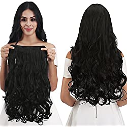 "REECHO 20"" 1-Pack 3/4 Full Head Curly Wave Clips in on Synthetic Hair Extensions Hairpieces for Women 5 Clips 4.6 Oz per Piece - Natural Black"