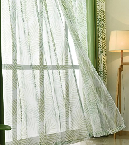 ASide BSide Rod Pocket Top Permeable Window Decoration Rainforest Style Sheer Curtains Palm Foliage Printed For Sitting Room Kitchenand Bedroom (1 Panel, W 52 x L 63 inch, Green) by ASide BSide