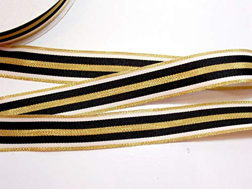 Designer Fabric - Black, White, and Metallic Gold Stripe Grosgrain Ribbon 7/8 Wide x 10 Yards - Clothing & Fashion Apparel Trimmings