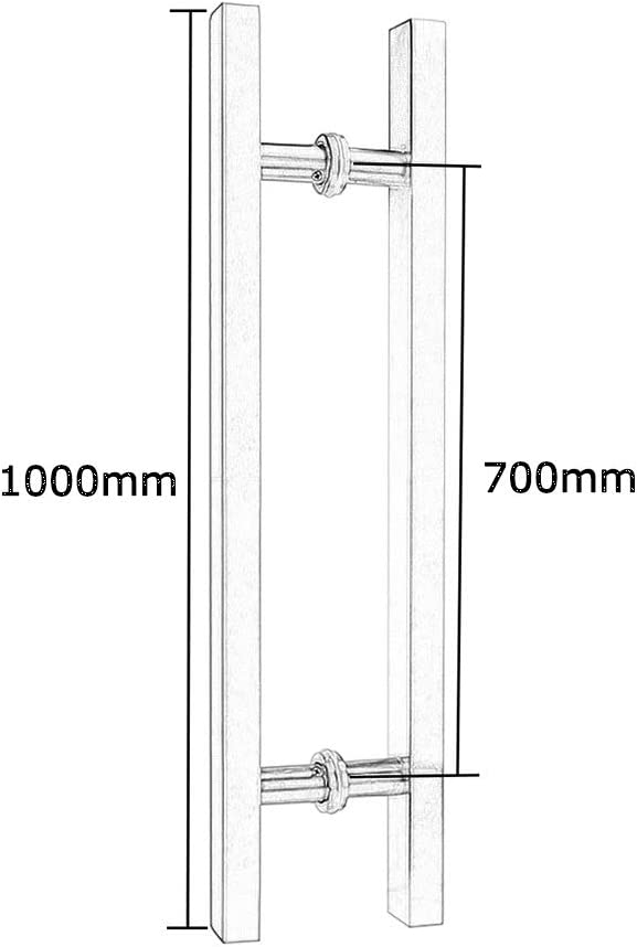 Door Handle 8 Sizes Brushed Silver Thick Stainless Steel Square Tube Store Office Glass Door Push-Pull Handle Sliding Door Handle Size : 800/×500mm