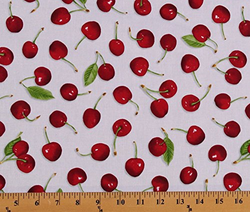 - Cotton Fresh Picked Cherries Cherry Fruit White Cotton Fabric Print by The Yard (1649-23001-z)