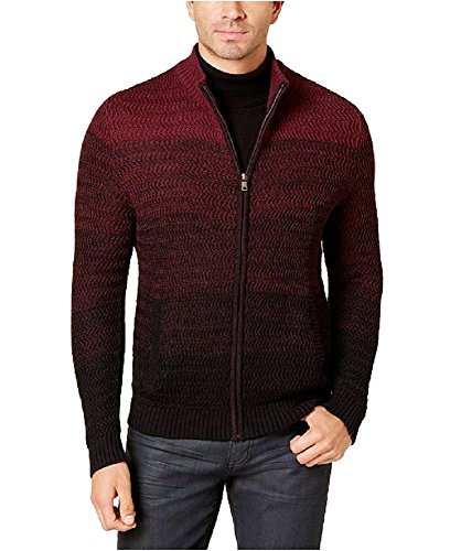 Alfani New Men's Red & Black Ombre Rib-Knit Full Zip Sweater M BHFO - Alfani Sweater Red