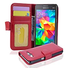 Cadorabo - Book Style Wallet Design for Samsung Galaxy GRAND PRIME (G5308W) with 3 Card Slots - Etui Case Cover Protection Pouch Skin in INFERNO-RED