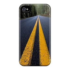 For Iphone 4/4s Tpu Phone Case Cover(yellow Line)