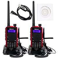 Retevis RT5 Dual Band Walkie Talkies 7W Dual Band VHF/UHF 136-174/400-520 MHz 128 CH VOX FM Two Way Radio(2 Pack) and Programming Cable