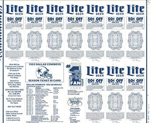 Schedules /& Season Ticket ID Card Set of 3 Dallas Cowboys 1992-1993-1994 Uncut Regular Season Ticket Holder Stubs-Full Sheet of 10 or 11 Games W//Dates 2 Super Bowl Seasons