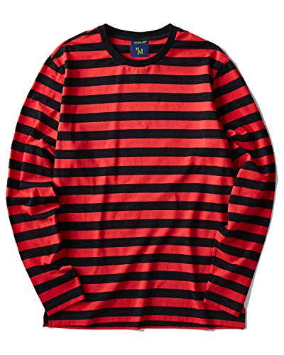 Zengjo Men's Casual Cotton Spandex Striped Crewneck Long-Sleeve T-Shirt Basic Pullover Stripe tee Shirt (M, Black&RED Wide) (Green Striped T-shirt)