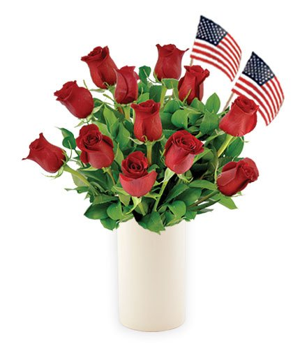 12 Red Roses with USA Flags