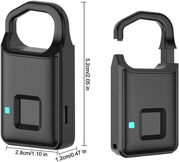 Candado el/éctrica exterior escritorio Cargo maleta puerta maleta biom/étrica candado huella digital sin llave para Club de Gym mochila