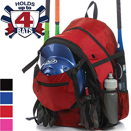 Athletico Advantage Baseball Bag - Baseball Backpack with External Helmet Holder for Baseball, T-Ball & Softball Equipment & Gear for Youth and Adults | Holds Bat, Helmet, Glove, Shoes (Red)