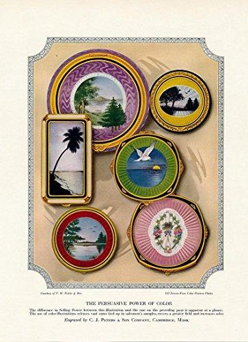 (Decorative plates w/ scenes banana ad 1927 vintage color print)