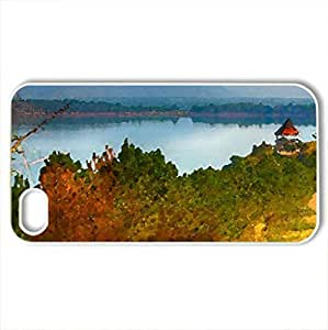 Beautiful Autumn Road & Scenery - Case Cover for iPhone 4 and 4s (Watercolor style, White)