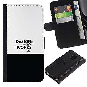 EJOY---Tirón de la caja Cartera de cuero con ranuras para tarjetas / Samsung Galaxy S5 V SM-G900 / --Empleos de Diseño CITA DE TRABAJO