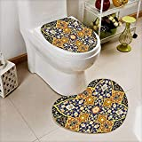 L-QN Lid Toilet Cover Detailed Arabic Islamic Floral Mosaic Patterns Eastern Antique Oriental Persian Artwork Cushion Non-Slip