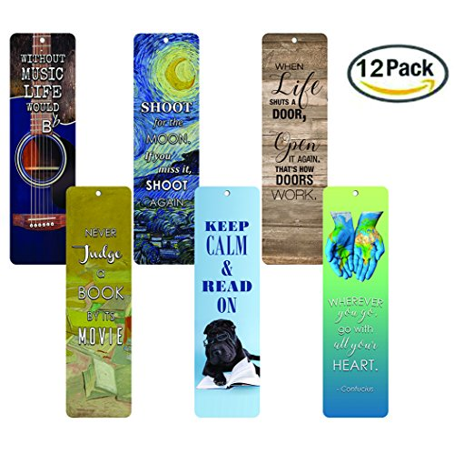 Creanoso Awesome Bookmarks (12-Pack) - Inspirational Bookmarks for Men Women Boy Girls - Educational Reading Bookmarks - Motivational Quotes