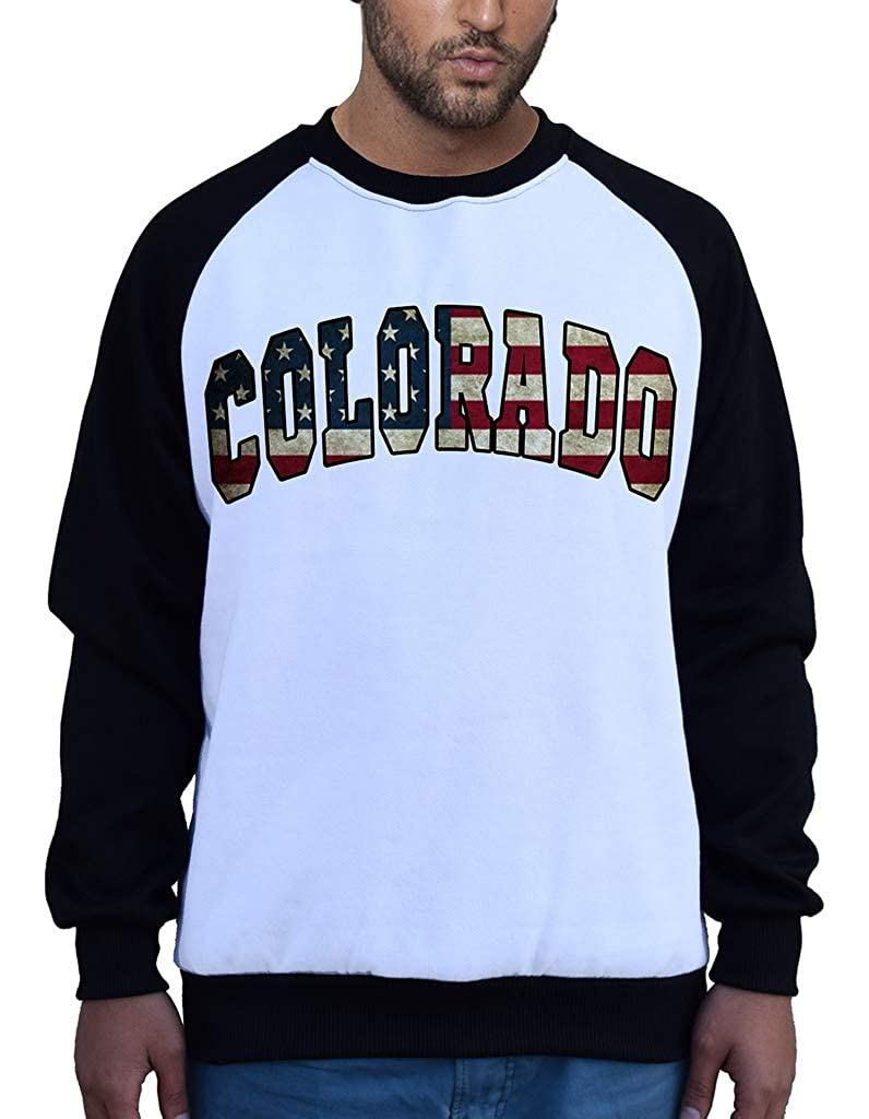 Mens Colorado USA Flag B1551 PLY Raglan Sweatshirt