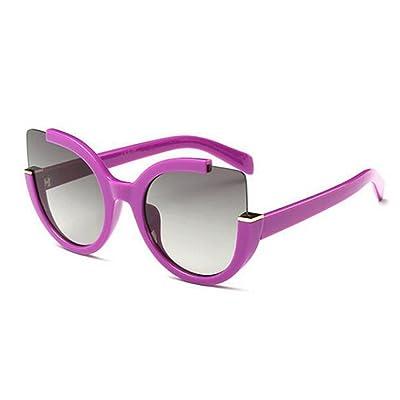 ANHPI Lunettes De Soleil Polarisées Mode Féminine Demi-cadre Confortable Parasol UV Protection Cat Eye Lunettes De Soleil Réfléchissantes Lunettes Colorées,Purple