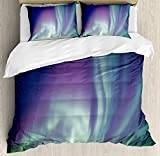 YOKOU Aurora Borealis Duvet Cover Set 4 Piece Microfiber Comforter Quilt Bed Bedding Covers with Zipper, Ties - Exquisite Atmosphere Solar Starry Sky Calming Night Image Mint Green Dark Blue Violet