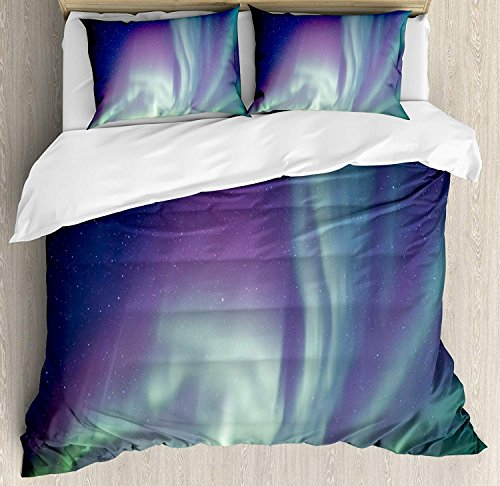 YOKOU Aurora Borealis Duvet Cover Set 4 Piece Microfiber Comforter Quilt Bed Bedding Covers with Zipper, Ties - Exquisite Atmosphere Solar Starry Sky Calming Night Image Mint Green Dark Blue Violet by YOKOU