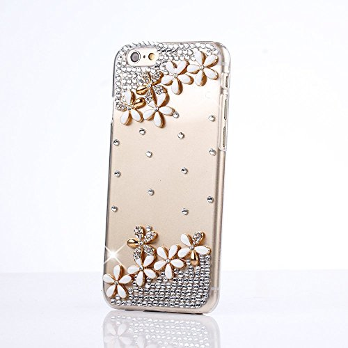 iPod Touch (6th Generation) Case, Sense-TE Luxurious Crystal 3D Handmade Sparkle Glitter Diamond Rhinestone Clear Cover with Retro Bowknot Anti Dust Plug - Flowrs