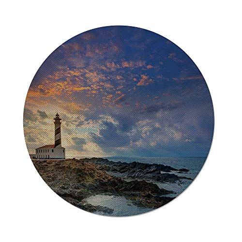 iPrint Cotton Linen Round Tablecloth,Lighthouse Decor,Cap de Favaritx Sunset Lighthouse Cape in Mahon at Balearic Islands of Spain Coast,Dining Room Kitchen Table Cloth Cover by iPrint