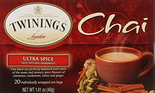 - Twinings of London Ultra Spice Chai Tea Bags, 20 Count